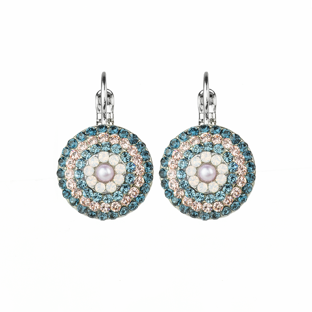 "Large Pave Leverback Earrings in ""Blue Morpho"" *Preorder*"