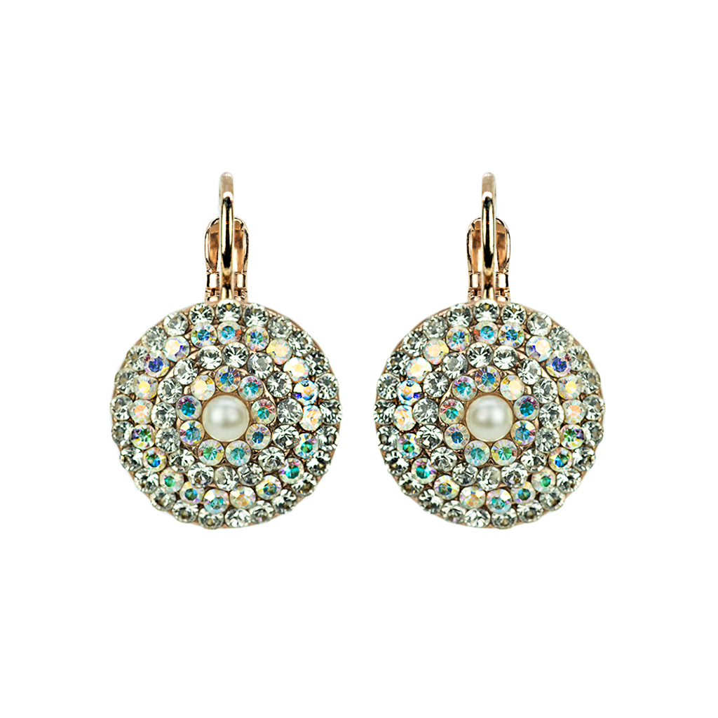 Large Pave Bridal Leverback Earrings in White Shell and Pearl *Preorder*