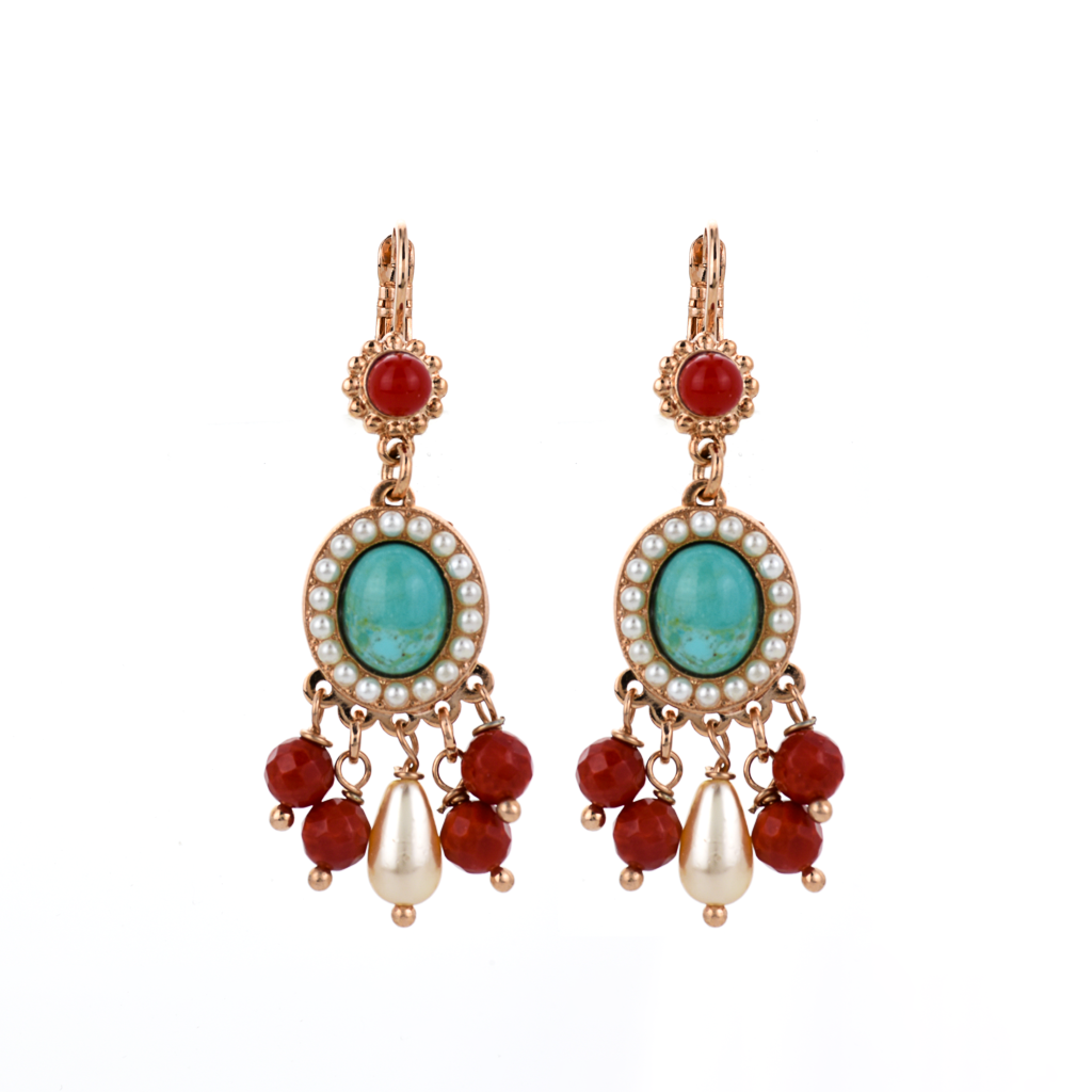 "Boho Oval Leverback Earrings in ""Happiness-Turquoise"" *Preorder*"
