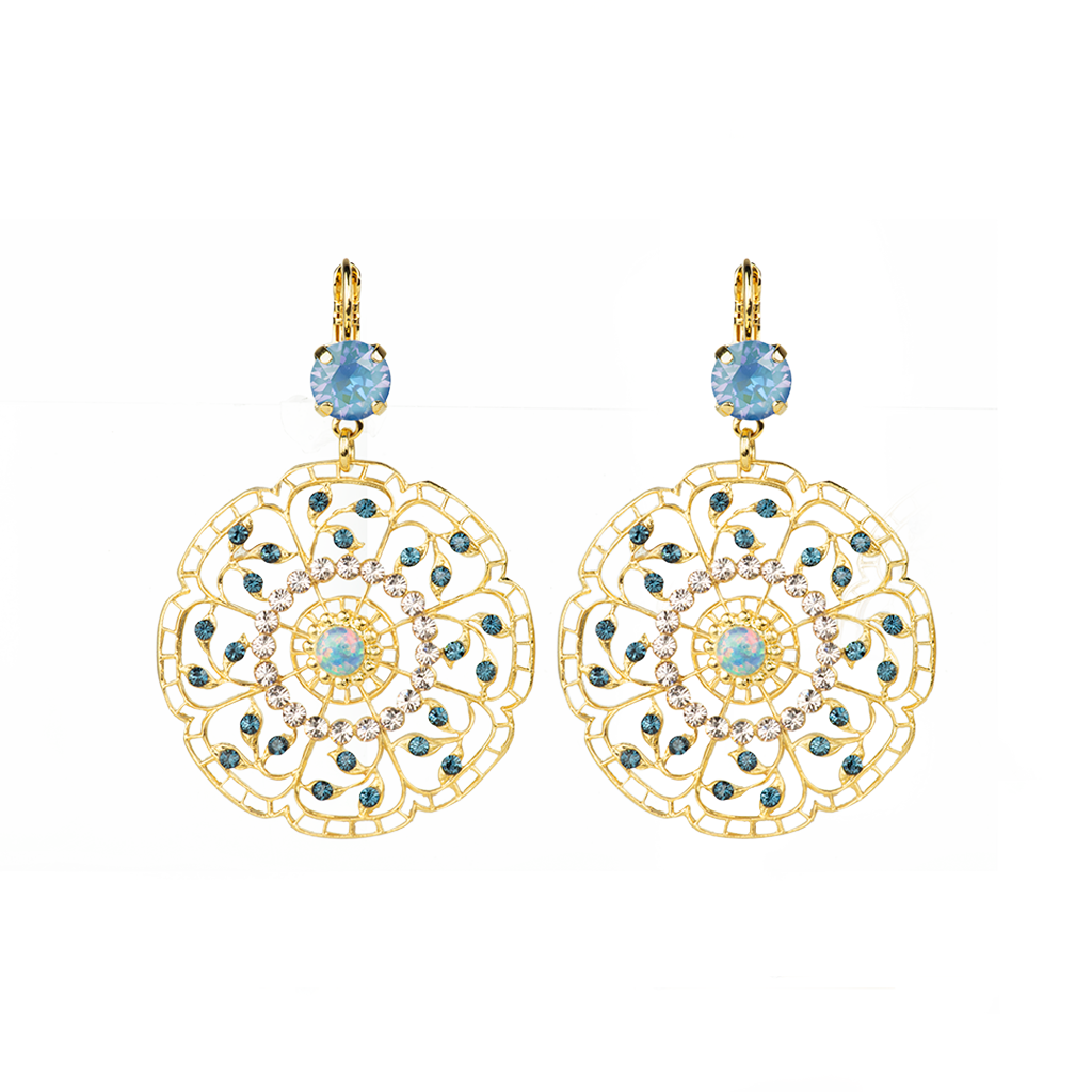 "Filigree Leverback Earrings in ""Blue Morpho"" *Preorder*"