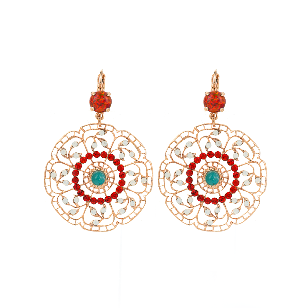 "Filigree Leverback Earrings in ""Happiness-Turquoise"" *Preorder*"