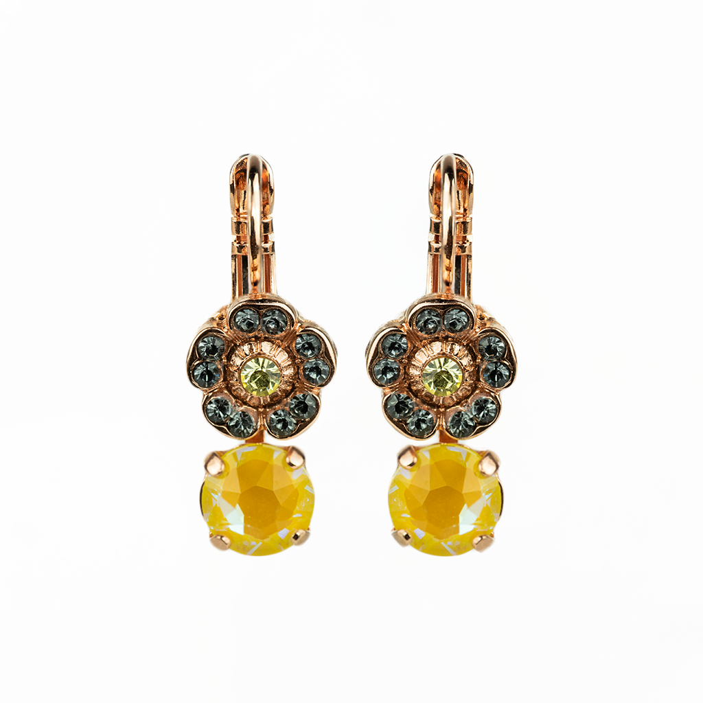 "Petite Double Stone Round and Flower Leverback Earrings in ""Painted Lady"" *Preorder*"
