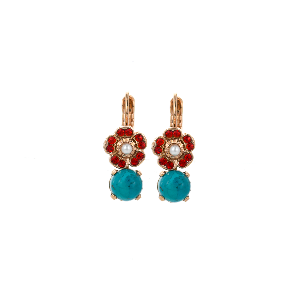 "Cosmos Round Dangle Leverback Earrings in ""Happiness-Turquoise"" *Preorder*"