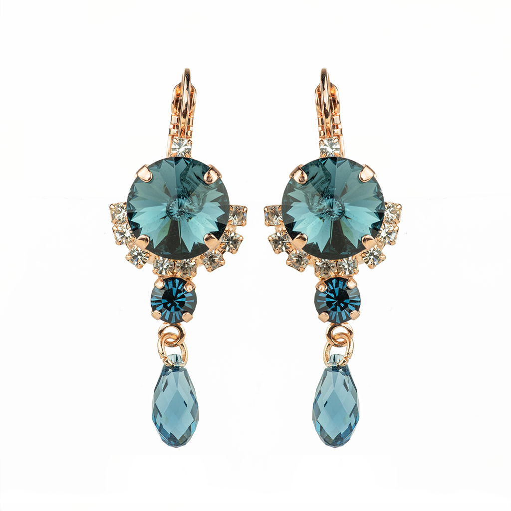 "*Preorder* Rivoli Cluster Leverback Earrings with Briolette Dangle in ""Night Sky"""