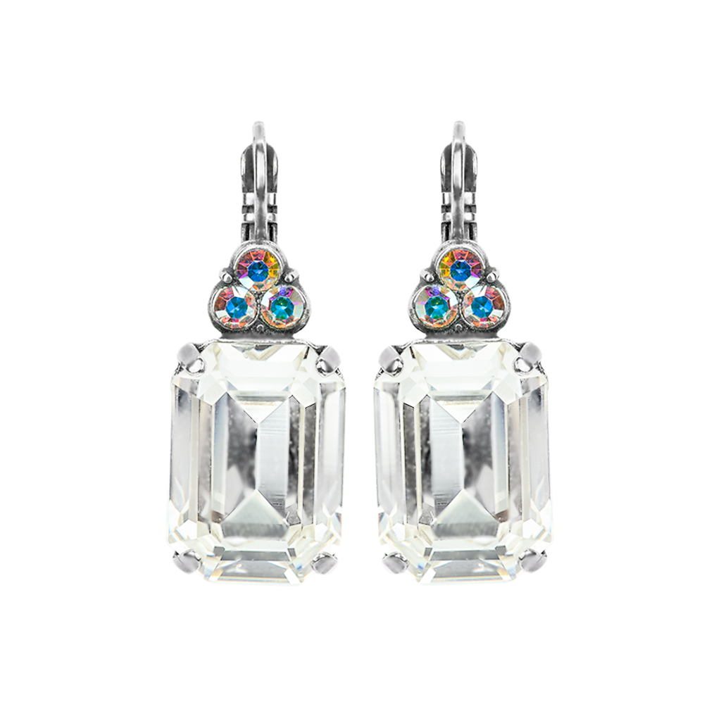 "Large Emerald Cut Bridal Leverback Earrings ""On A Clear Day"" *Preorder*"
