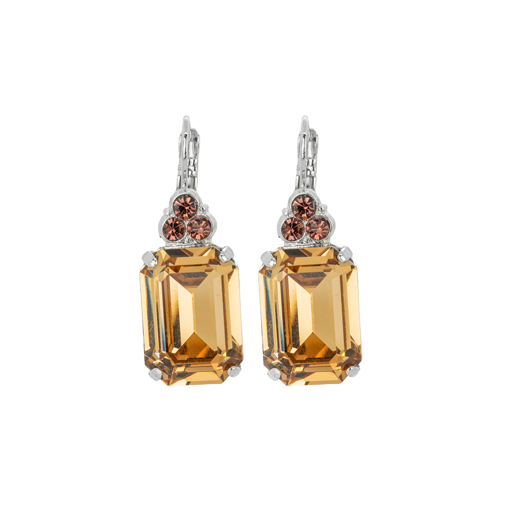 "Large Emerald Cut Leverback Earring with Round Top Stones ""Meadow Brown"" *Preorder*"