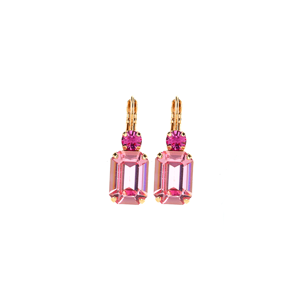 "Round and Emerald Cut Leverback Earrings in ""Love"" *Preorder*"