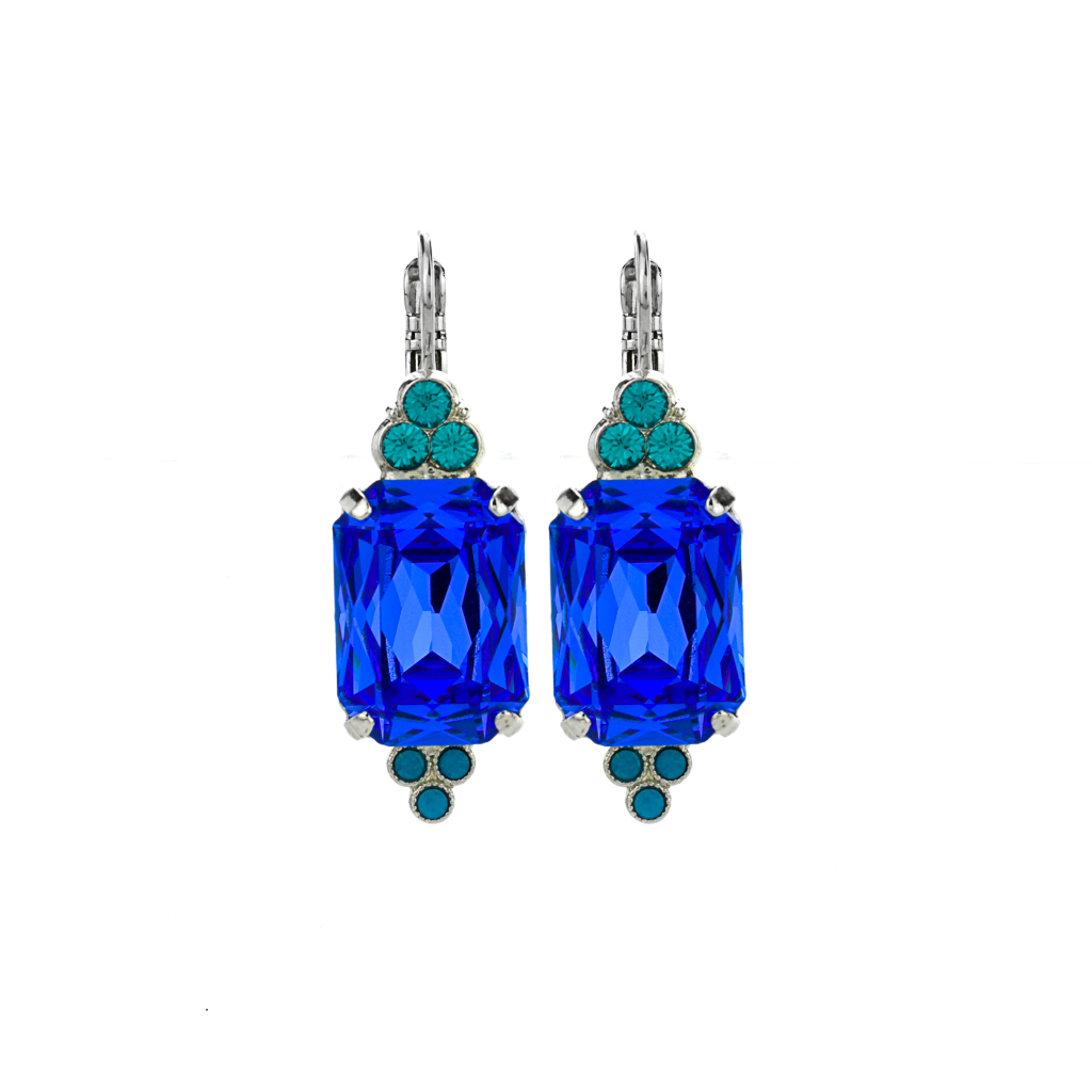 "Large Emerald Cut with Trio Stone Cluster Leverback Earrings in ""Serenity"" *Preorder*"