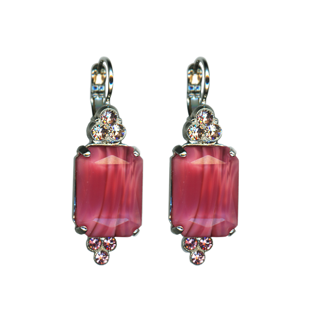 "Large Emerald Cut with Trio Stone Cluster Leverback Earrings in ""Love"" *Preorder*"
