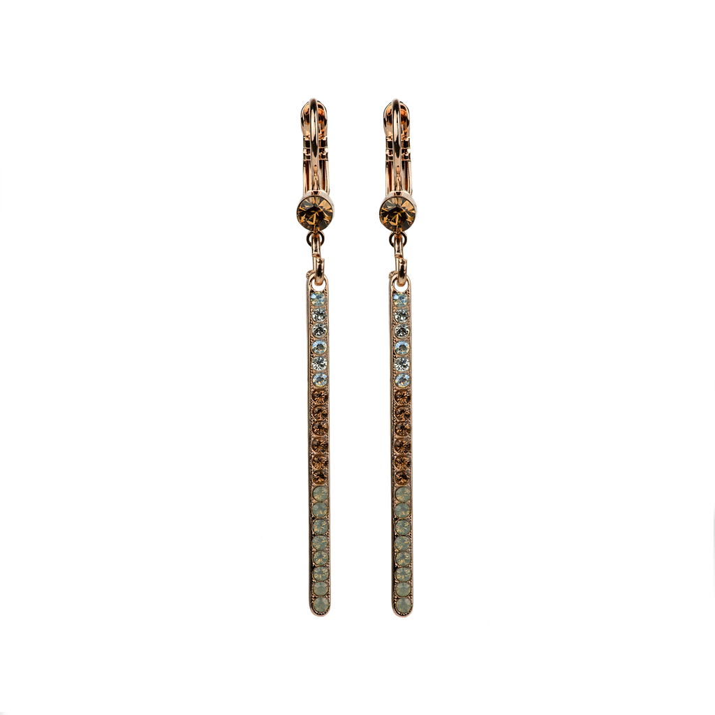 Petite Bar Earrings in Champagne & Caviar - Rose Gold