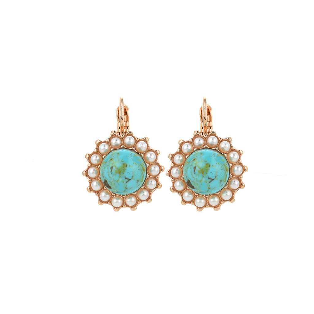 "Extra Luxurious Flower Leverback Earrings in ""Happiness-Turquoise"" *Preorder*"