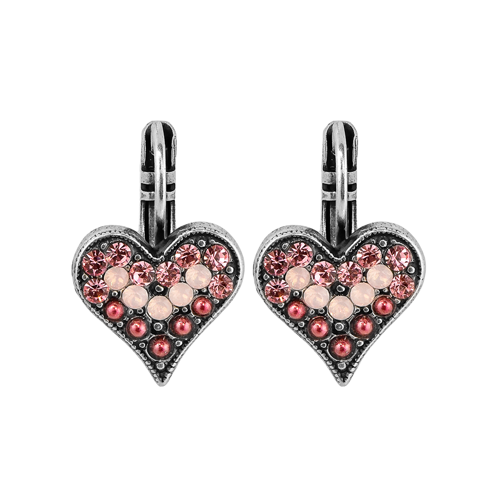 "Embellished Heart Leverback Earrings in ""Antigua"" *Preorder*"