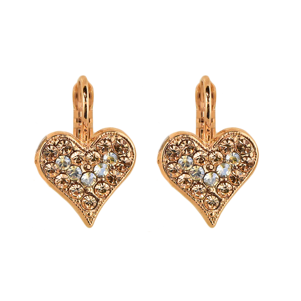 "Embellished Heart Leverback Earrings in ""Barbados"" *Preorder*"