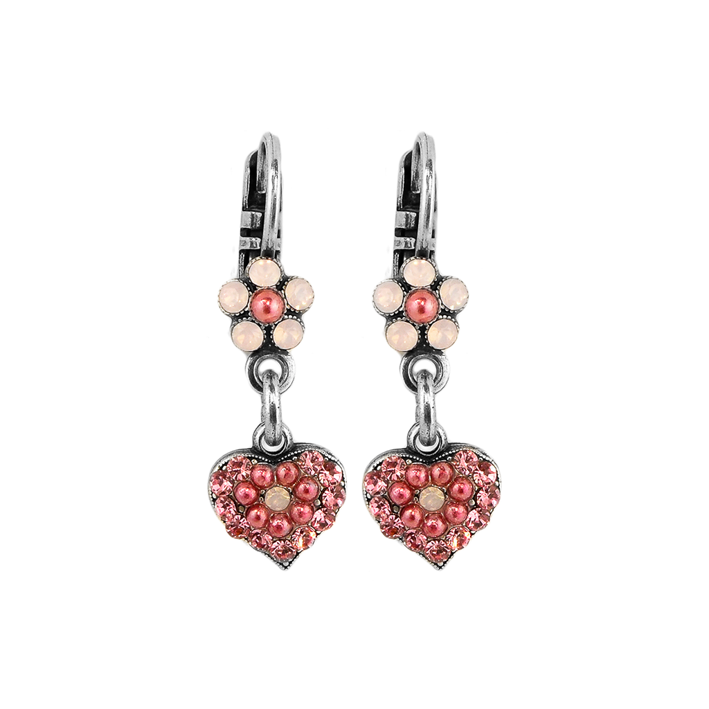 "Flower and Heart Leverback Earrings in ""Antigua"" *Preorder*"