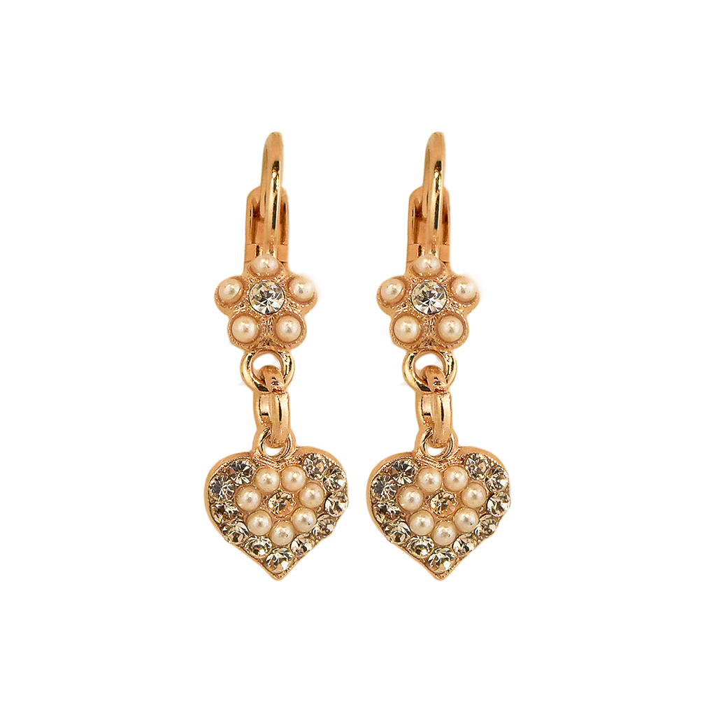 "Flower and Heart Leverback Earrings in ""Barbados"" *Preorder*"