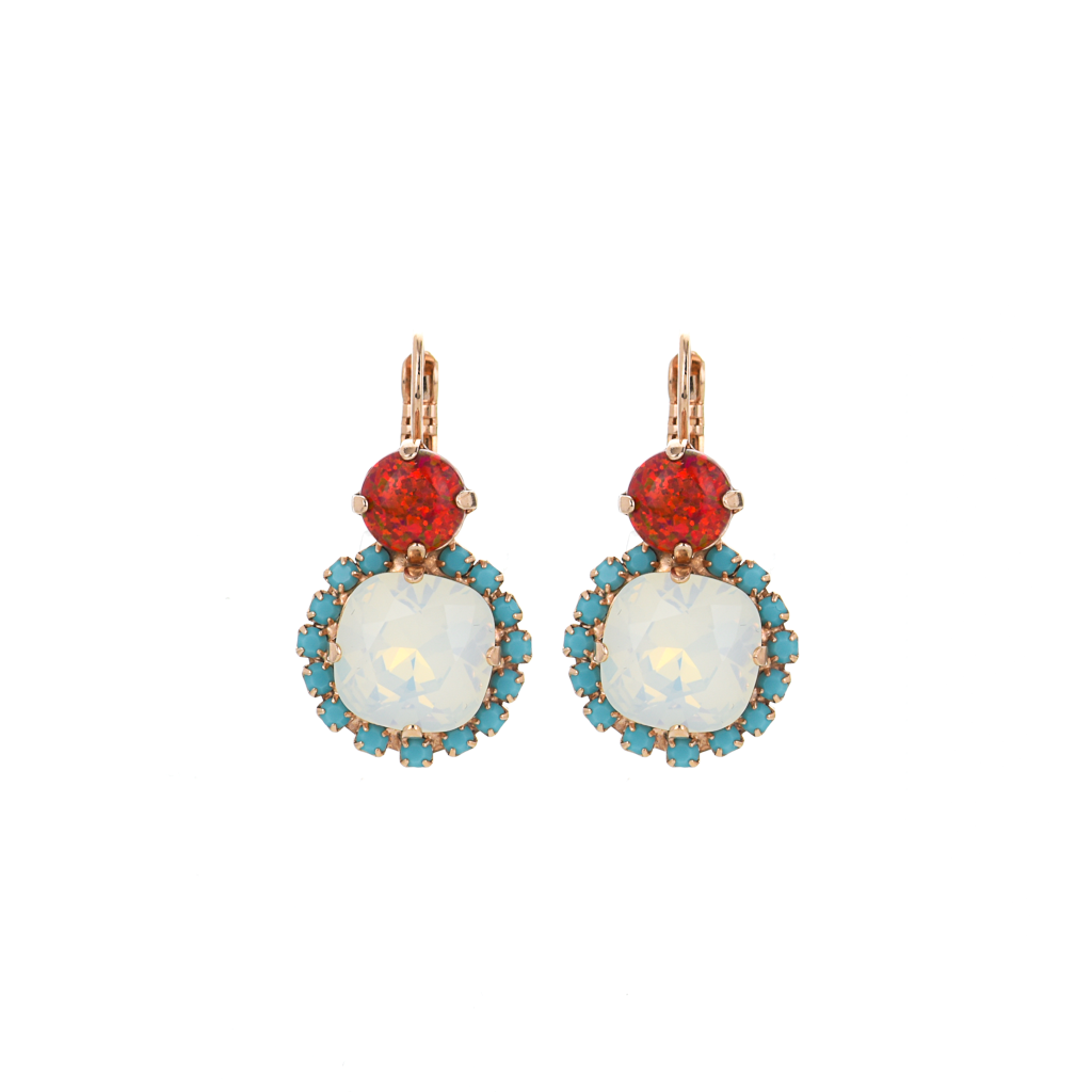 "Double Stone Halo Leverback Earrings in ""Happiness"" *Preorder*"