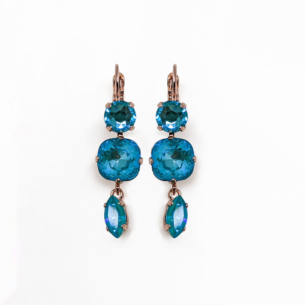 "Three Stone Leverback Earrings in Sun-Kissed ""Laguna"" *Preorder*"