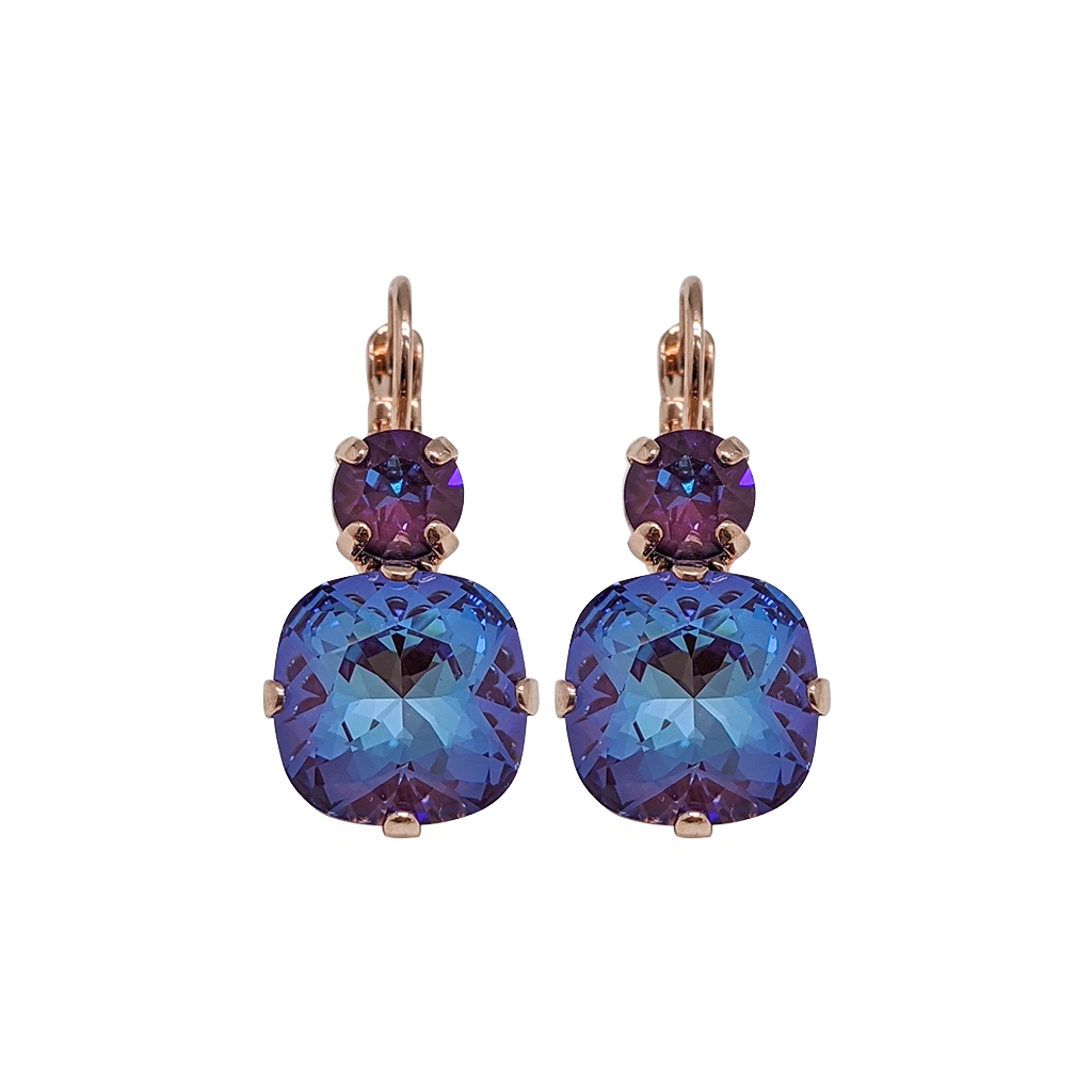"Double Round and Cushion Cut Leverback Earrings in Sun-Kissed ""Plum"" *Preorder*"