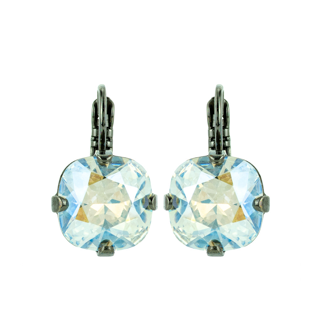 "Cushion Cut Leverback Earrings in ""Crystal Moonlight"" *Preorder*"