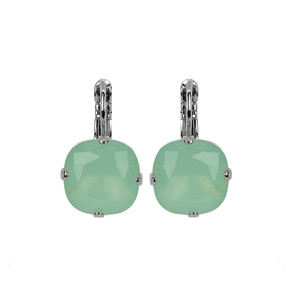 "Cushion Cut Leverback Earrings in ""Seafoam"" *Preorder*"