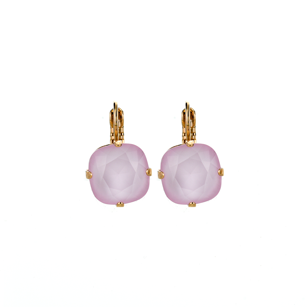 "Cushion Cut Leverback Earrings in Sun-kissed ""Rose"" *Preorder*"