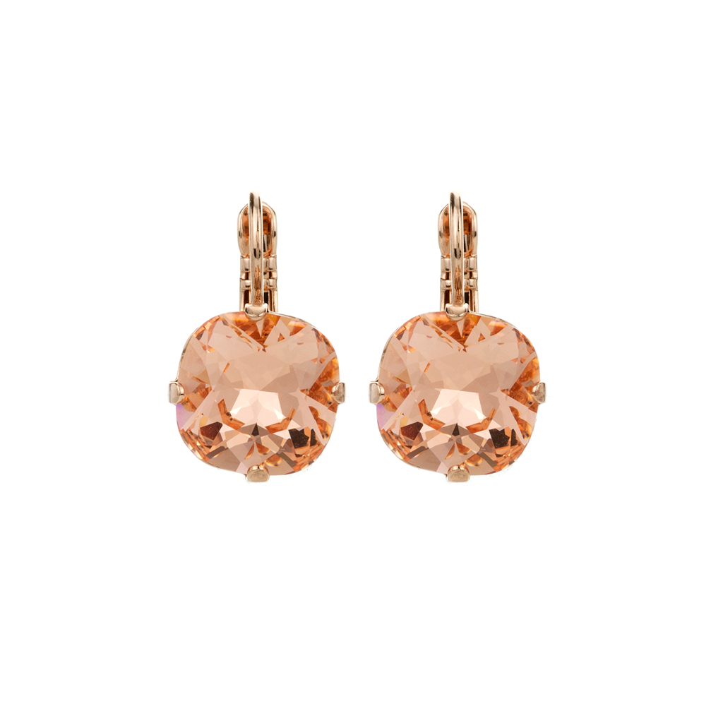 "Cushion Cut Leverback Earrings in ""Peach"" *Preorder*"