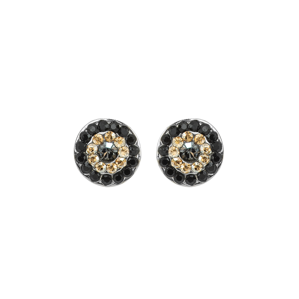"Must-Have Pavé Post Earrings in ""Black Orchid"" - Rhodium"