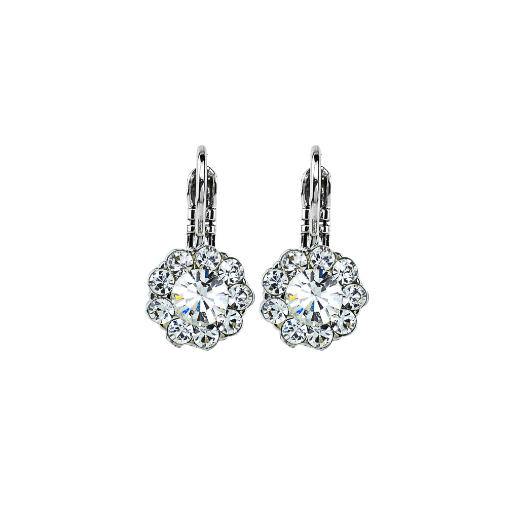 Must-Have Flower Leverback Earrings in Clear - Rhodium
