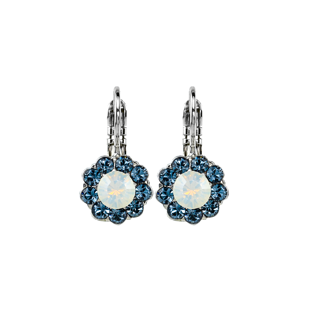 "Must-Have Flower Leverback Earrings in ""Mood Indigo"" - Rhodium"