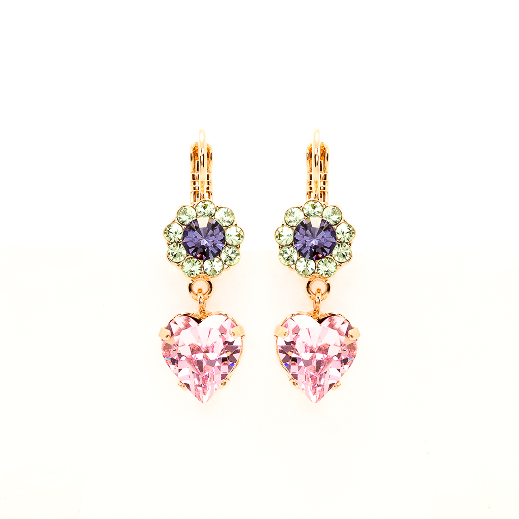 "Flower Heart Leverback Earrings in ""Travelara"" *Preorder*"