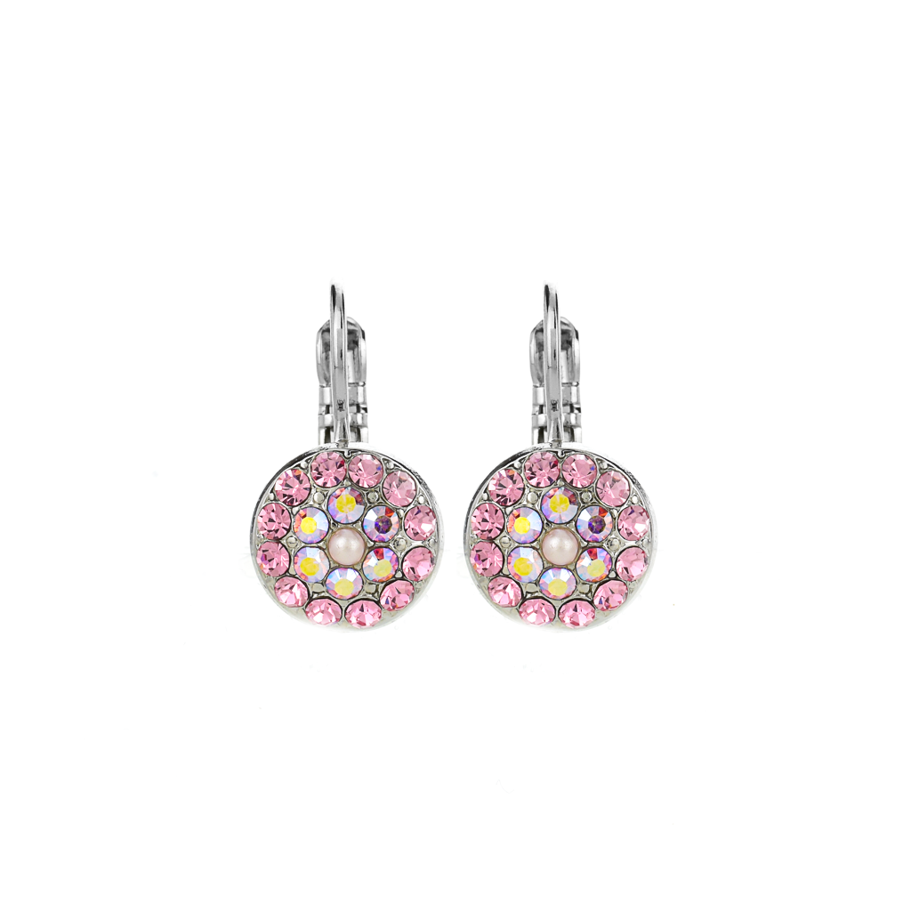 "Pavé Round Leverback Earrings in ""Love"" *Preorder*"
