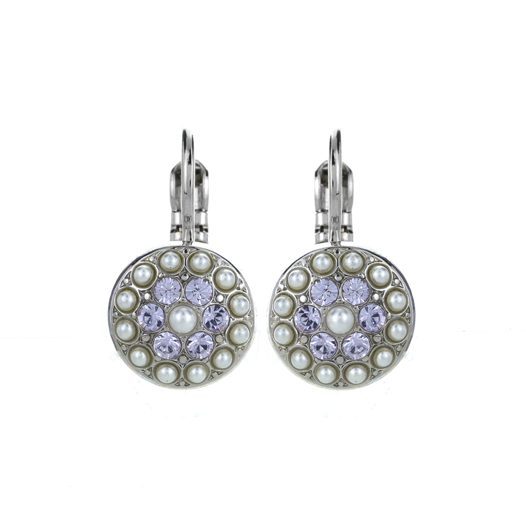 "Pavé Round Leverback Earrings in ""Romance"" *Preorder*"