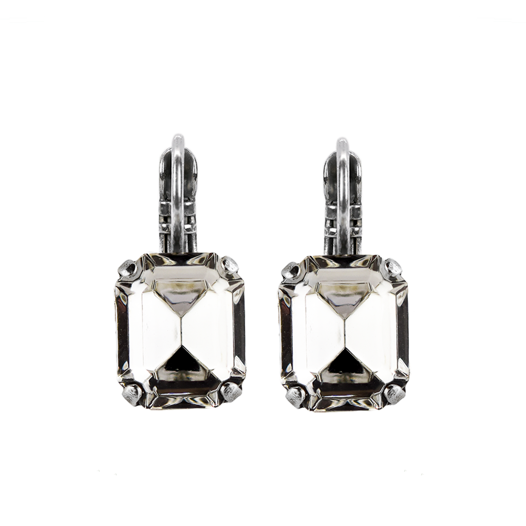 "Emerald Cut Leverback Earrings in ""Clear"" *Preorder*"