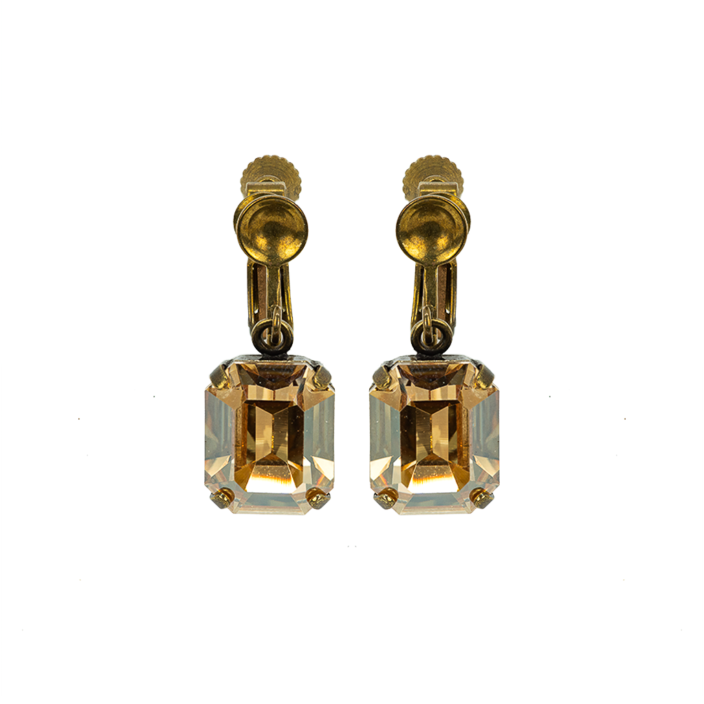 "Emerald Cut Screwback Earrings in ""Golden Shadow"" *Preorder*"