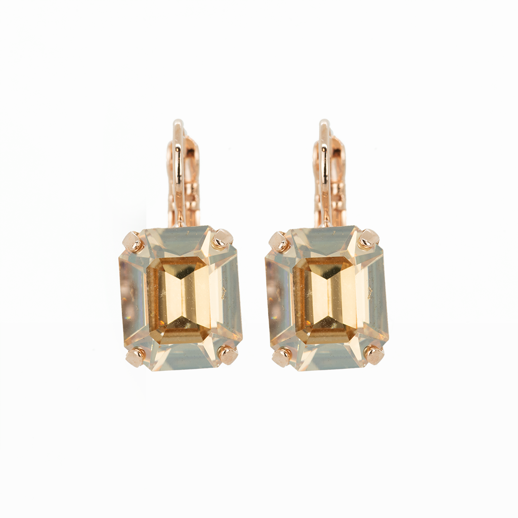 "Emerald Cut Leverback Earrings in ""Golden Shadow"" *Preorder*"