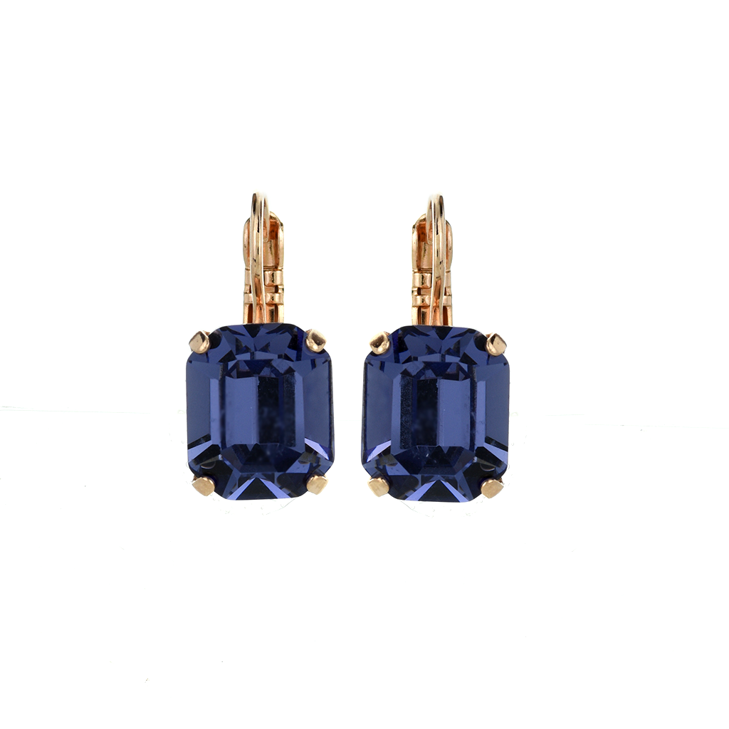Emerald Cut Leverback Earrings in Tanzanite *Preorder*