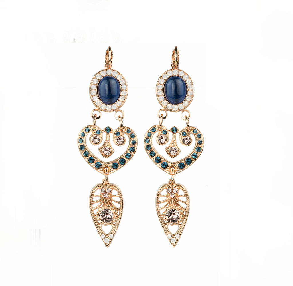 "*Preorder* Oval and Heart Leverback Earrings in ""Blue Morpho"""