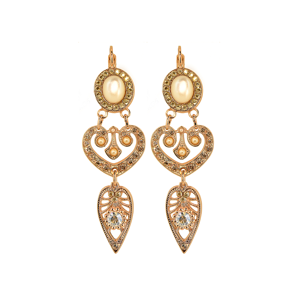 "Oval and Heart Leverback Earrings in ""Barbados"" *Preorder*"