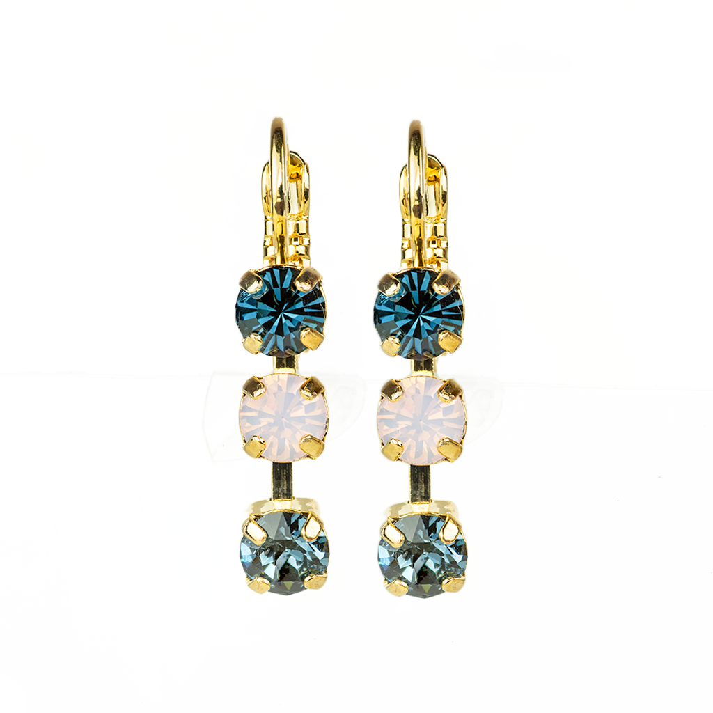 "*Prerorder* Petite Three Stone Leverback Earrings ""Blue Morpho"""