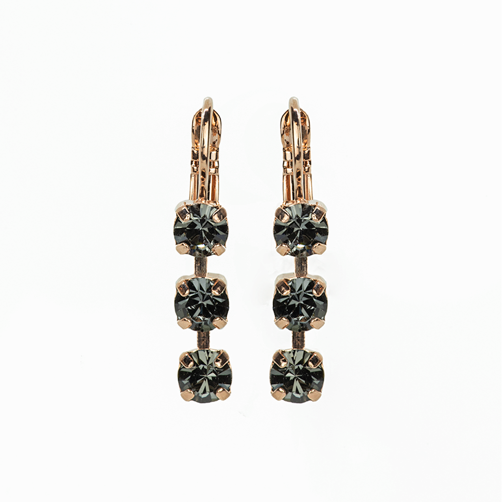 "*Preorder* Petite Three Stone Leverback Earrings in ""Silver Night"""