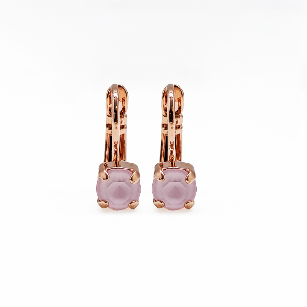 "*Preorder* Petite Single Stone Leverback Earrings in Sun-Kissed ""Rose"""