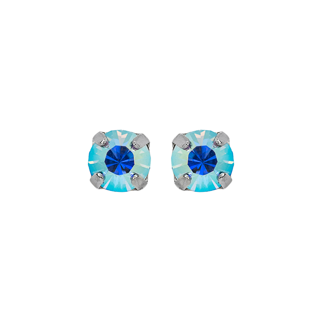 "Petite Everyday Stud Earrings in ""Light Sapphire Aurora Borealis""-Rhodium"