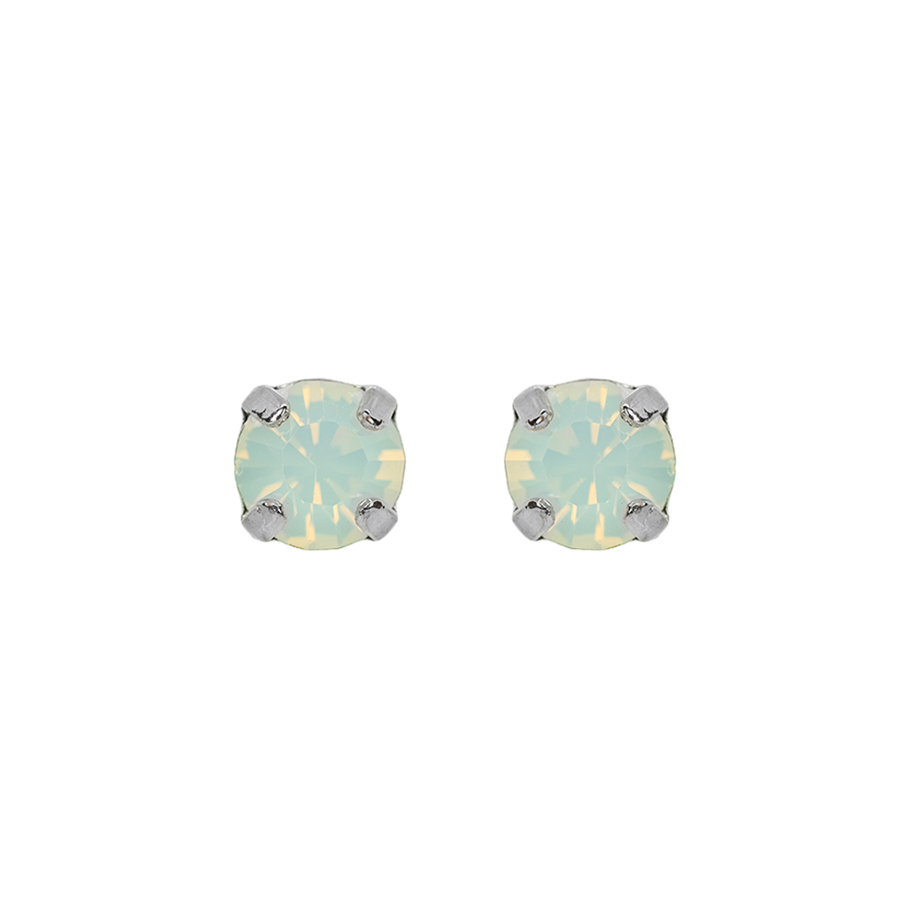 Petite Everyday Stud Earrings in White Opal - Rhodium