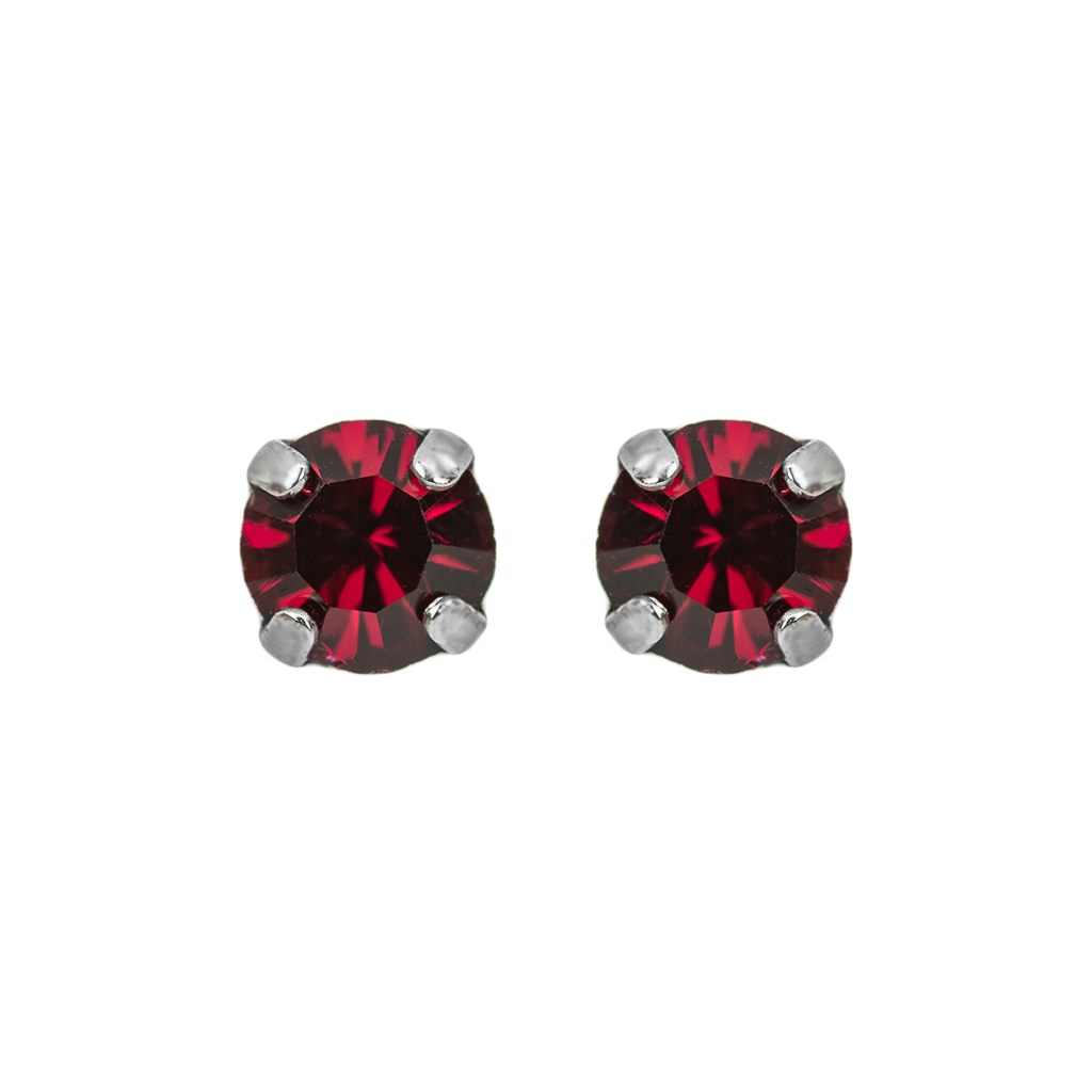 "Petite Everyday Stud Earrings in ""Ruby""-Rhodium"