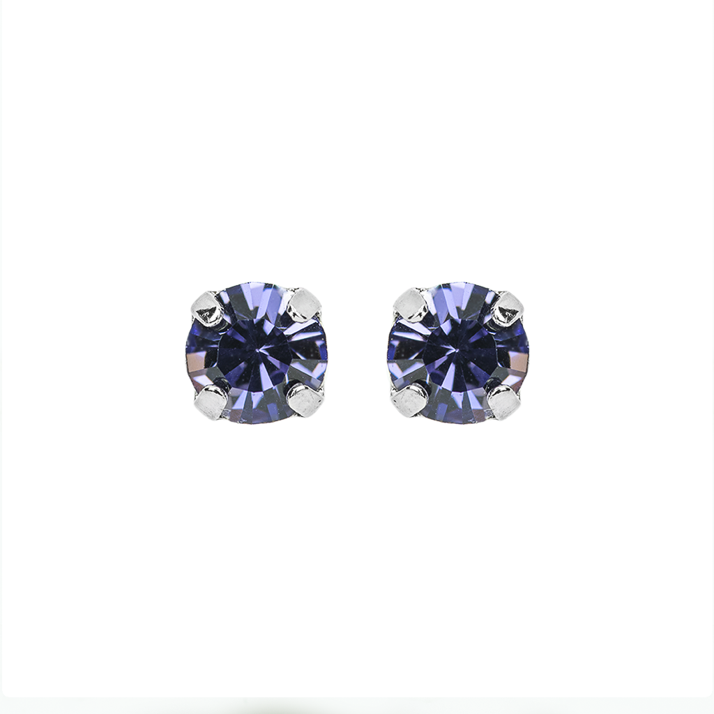 "Petite Everyday Stud Earrings in ""Tanzanite""- Rhodium"