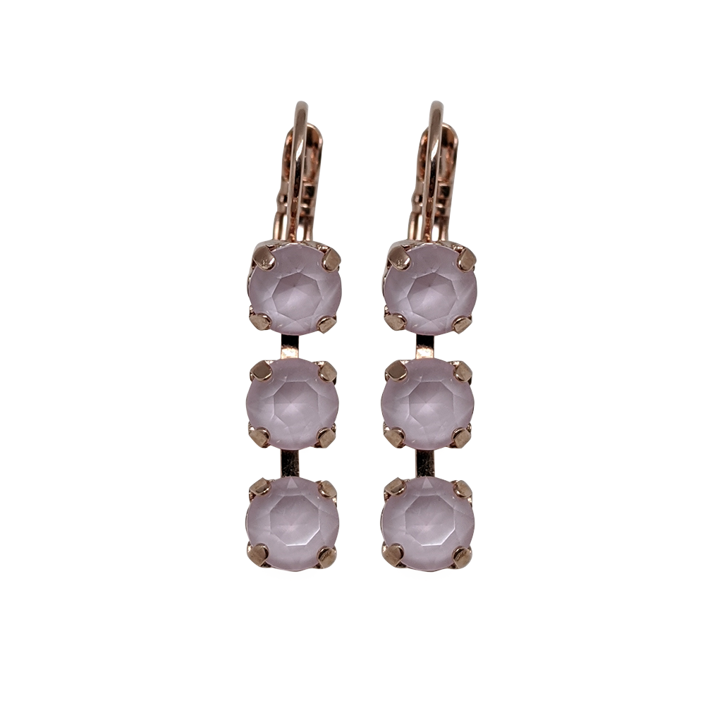 "*Preorder* Petite Three Stone Leverback Earrings in Sun-Kissed ""Rose"""