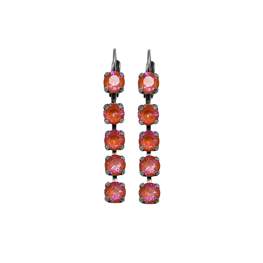 "Five Stone Leverback Earrings in Sun-Kissed ""Sunset"" *Preorder*"
