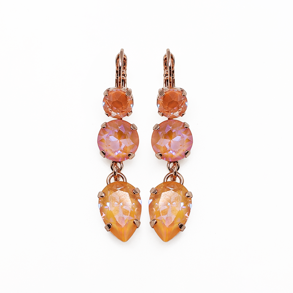 "Fun Finds Three Stone Leverback Earrings in Sun-Kissed ""Peach"" - Rose Gold"