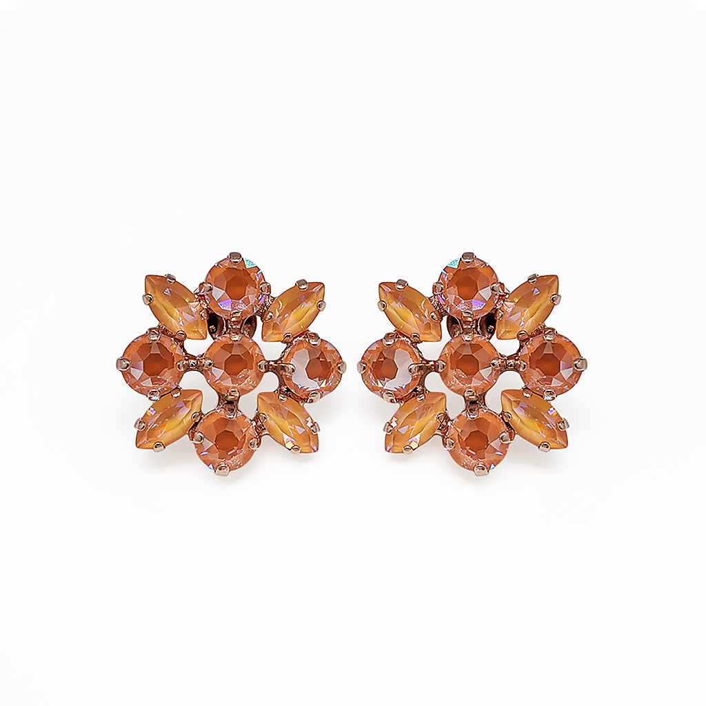 "*Preorder* Marquise and Round Post Earrings in Sun-Kissed ""Peach"""