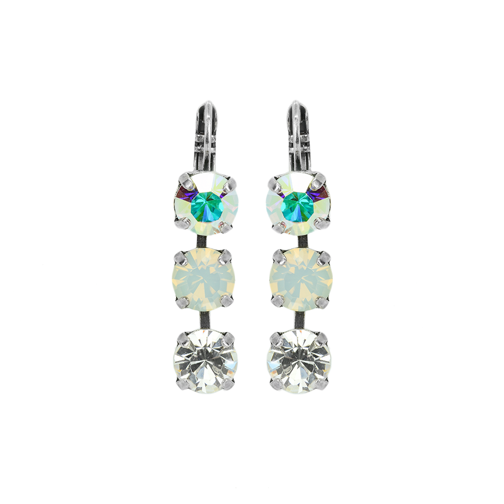 "Three Stone Bridal Leverback Earrings in ""On A Clear Day"" *Preorder*"